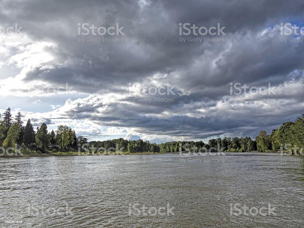 Willamette River under clouds stock photo