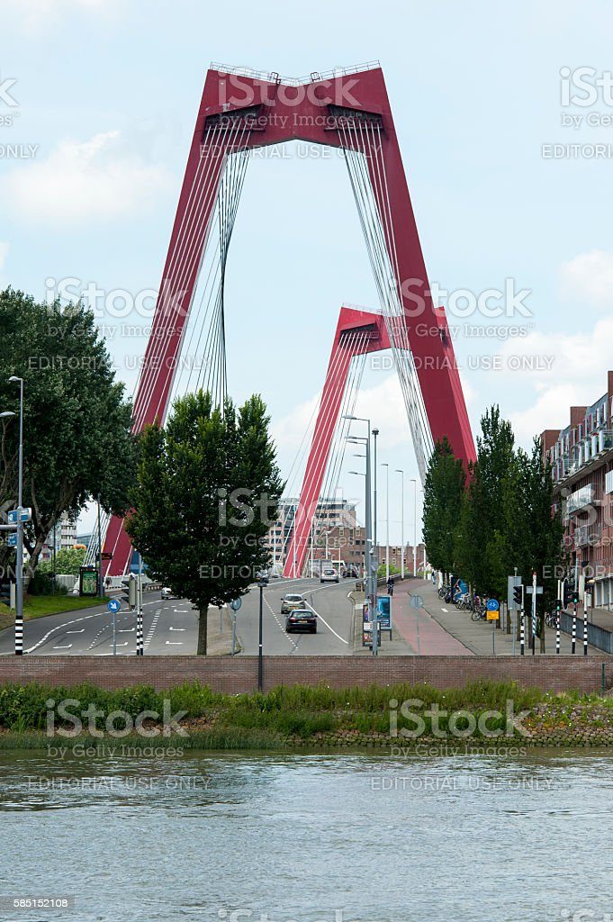 Willemsbridge in Rotterdam connects city center with Noorder island stock photo
