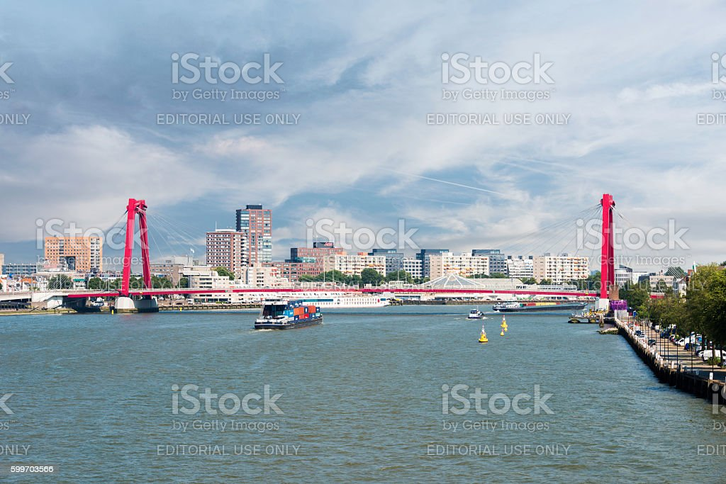 Willemsbrug in the port of Rotterdam city in Holland stock photo