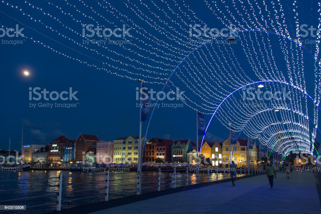Willemstad by night stock photo