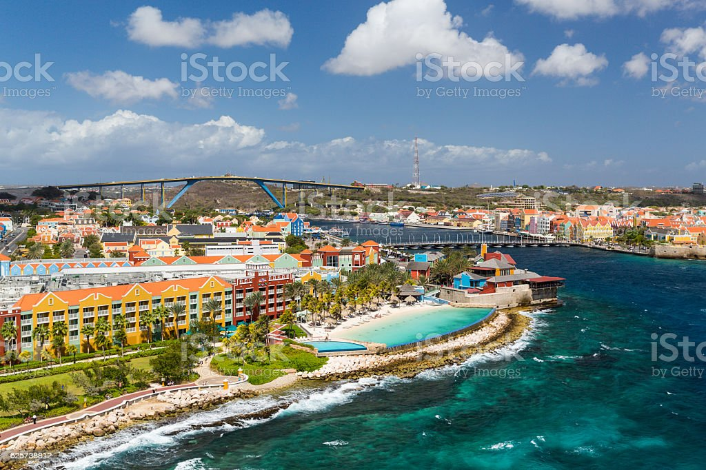 Willemstad in Curacao and the Queen Emma Bridge stock photo
