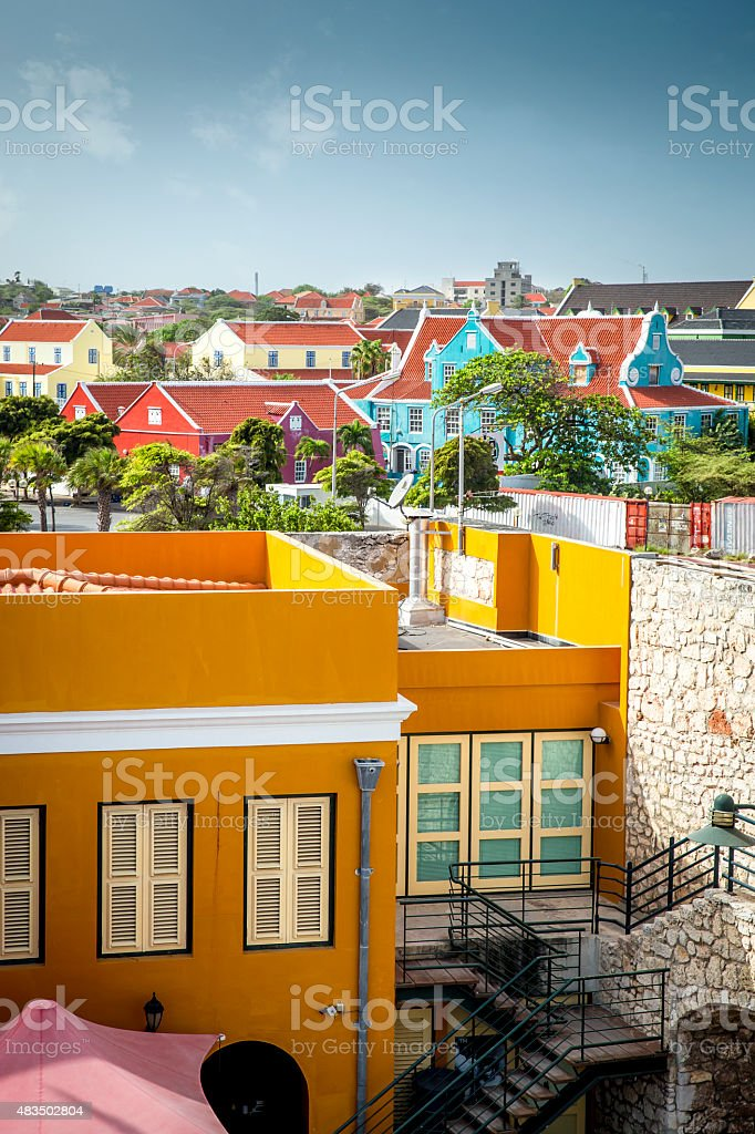 Willemstad town in Curacao stock photo
