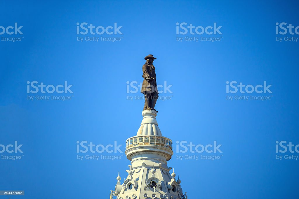 William Penn statue on a top of City Hall Philadelphia stock photo
