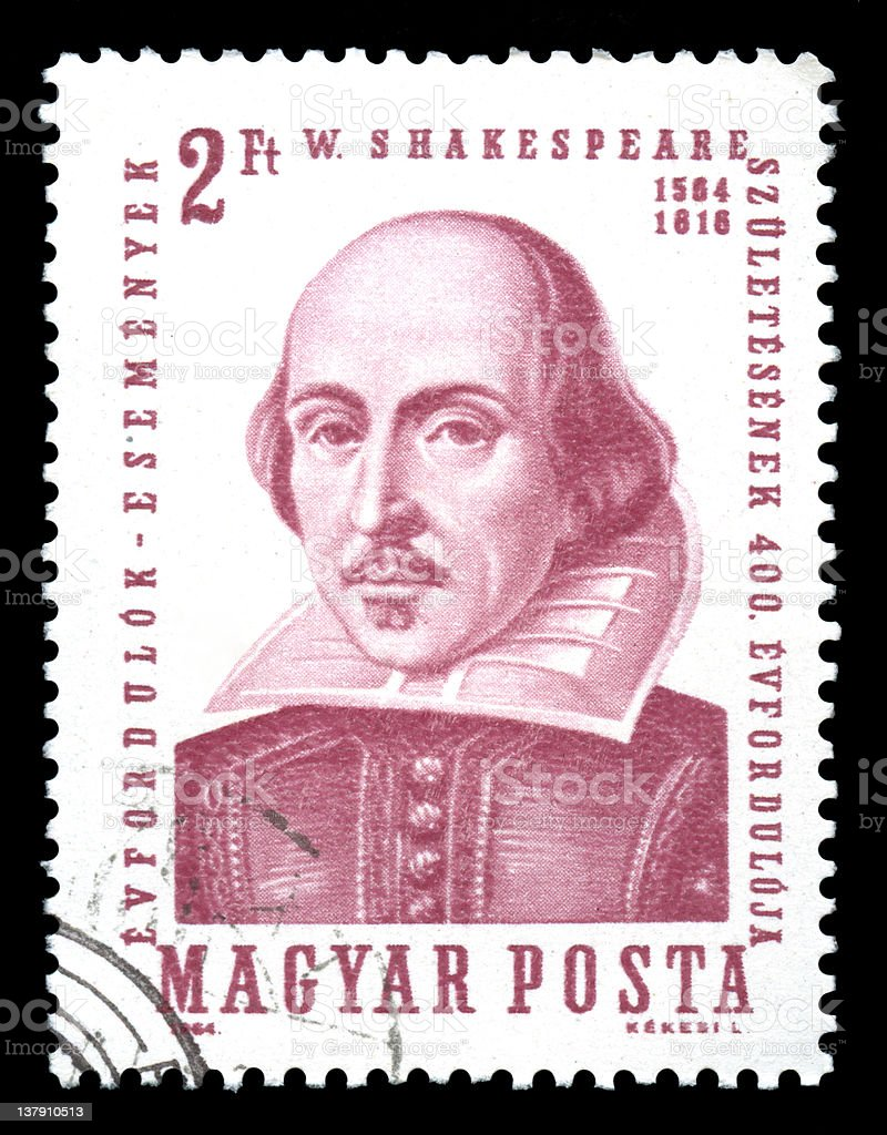 William Shakespeare, Hungary Postage Stamp royalty-free stock photo