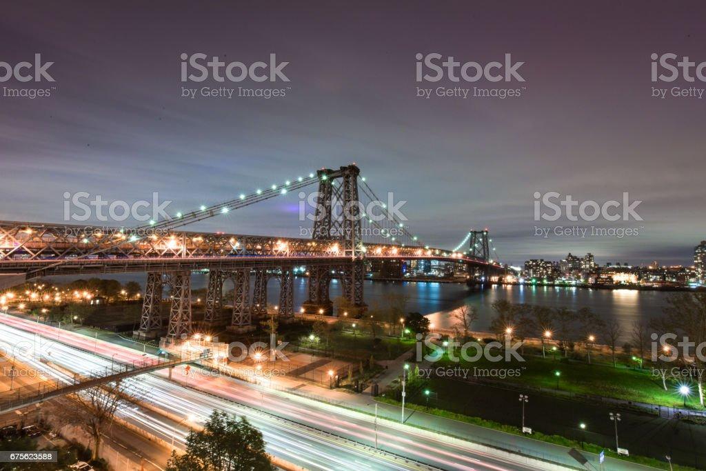 Williamsburg Bridge at Night stock photo