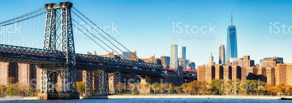 Williamsburg bridge Brooklyn and Manhattan skyline with Freedom tower stock photo