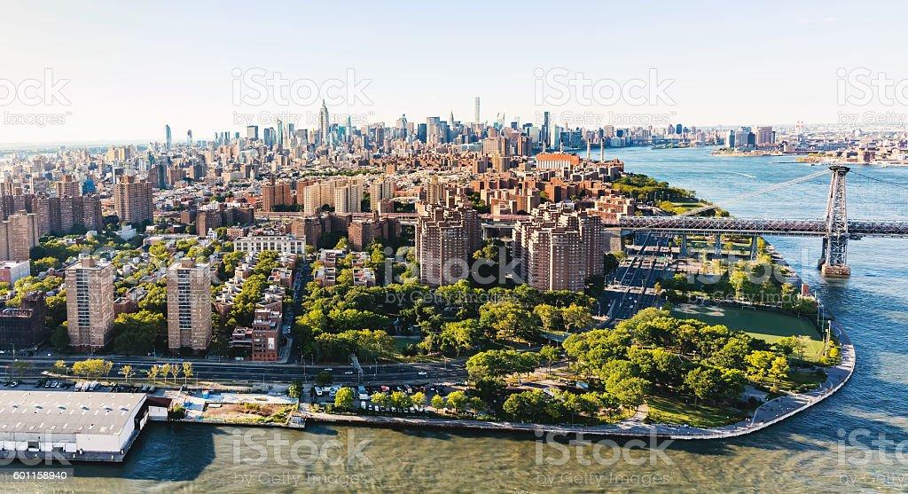 Williamsburg Bridge over the East River in Manhattan, NY stock photo
