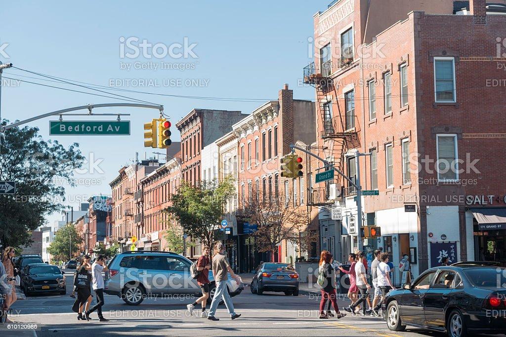 Williamsburg Brooklyn New York City Street Scene Bedford Avenue Neighborhood stock photo