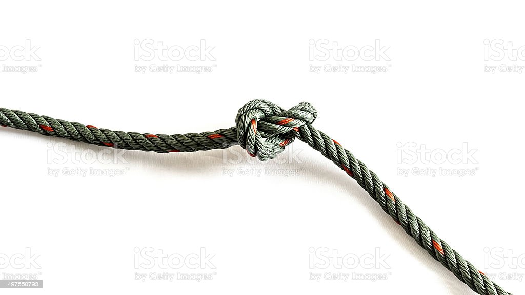 Willis Knot style fishing knots on white background stock photo