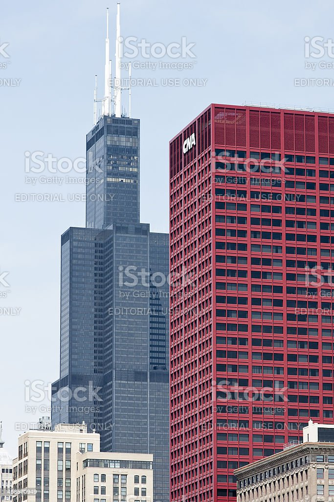 Willis Tower and CNA Building stock photo