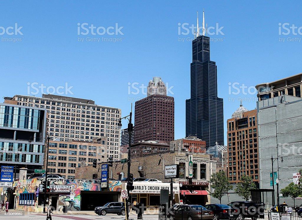 Willis Tower and neighborhood stock photo
