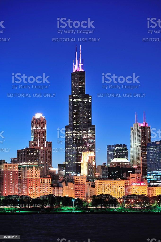 Willis Tower at night stock photo