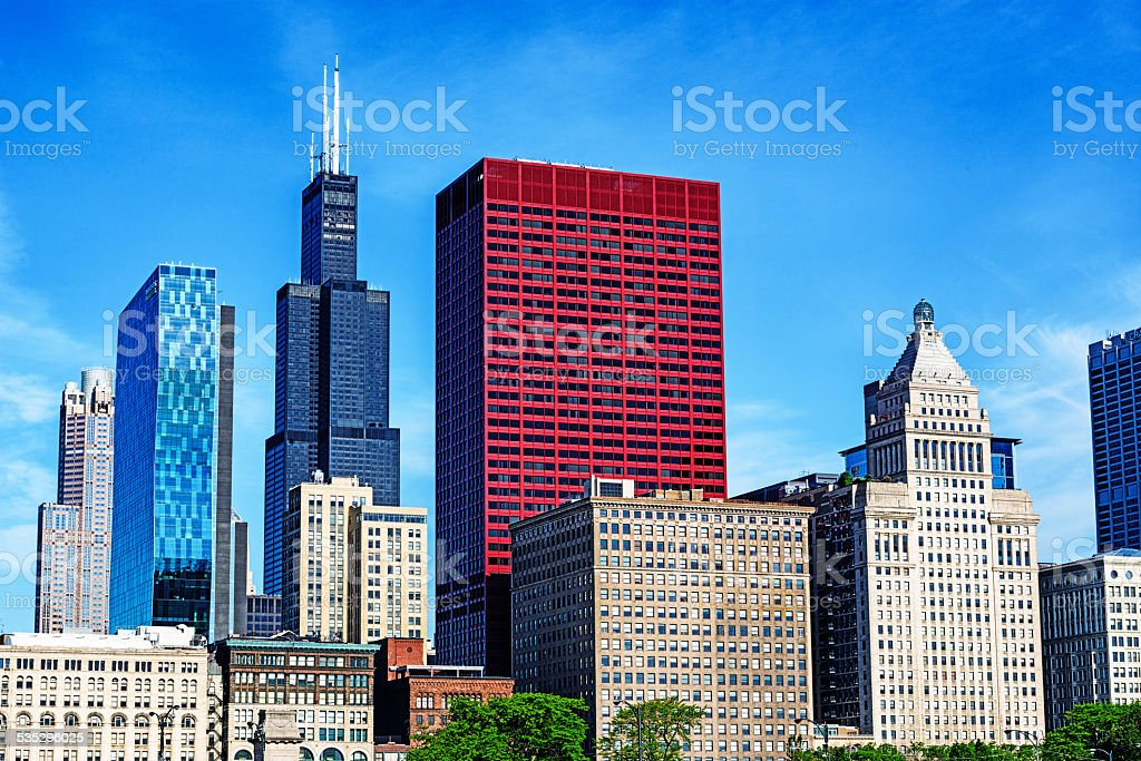 Willis Tower, CNA Center and vintage skyscrapers on Michigan Ave stock photo