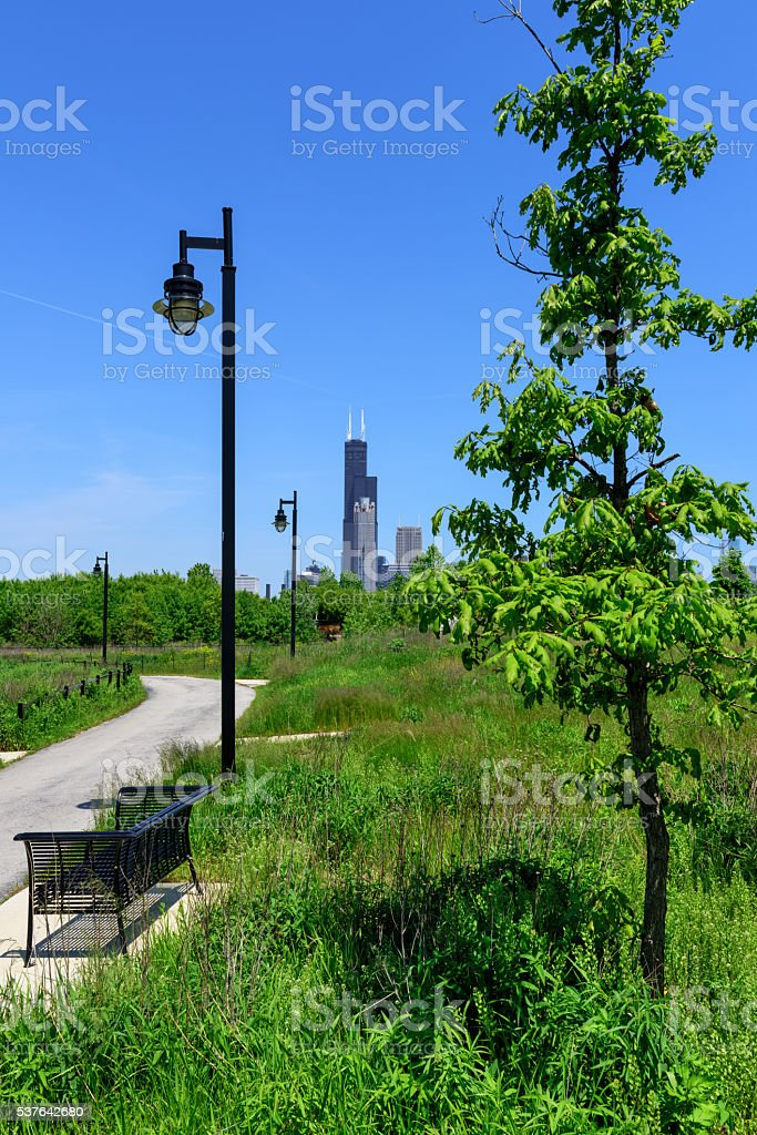 Willis Tower from Ping Tom Park, Chicago stock photo
