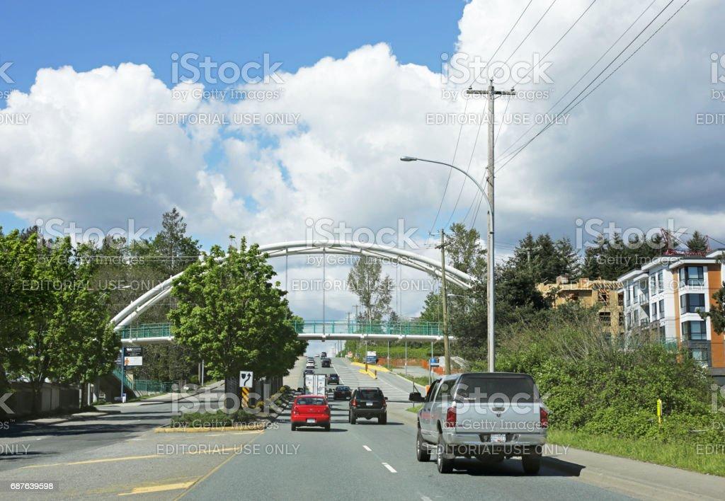 Willoughby Greenway Bridge Spans 200 Street, Langley, British Columbia stock photo