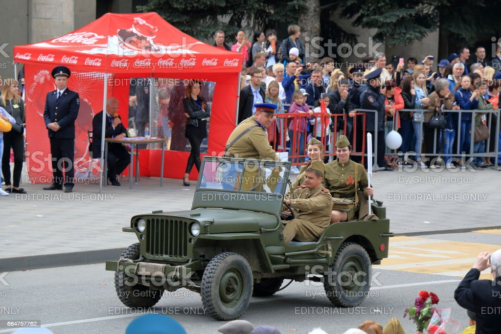 Willys MB on the Victory Day Parade in Pyatigorsk, Russia stock photo