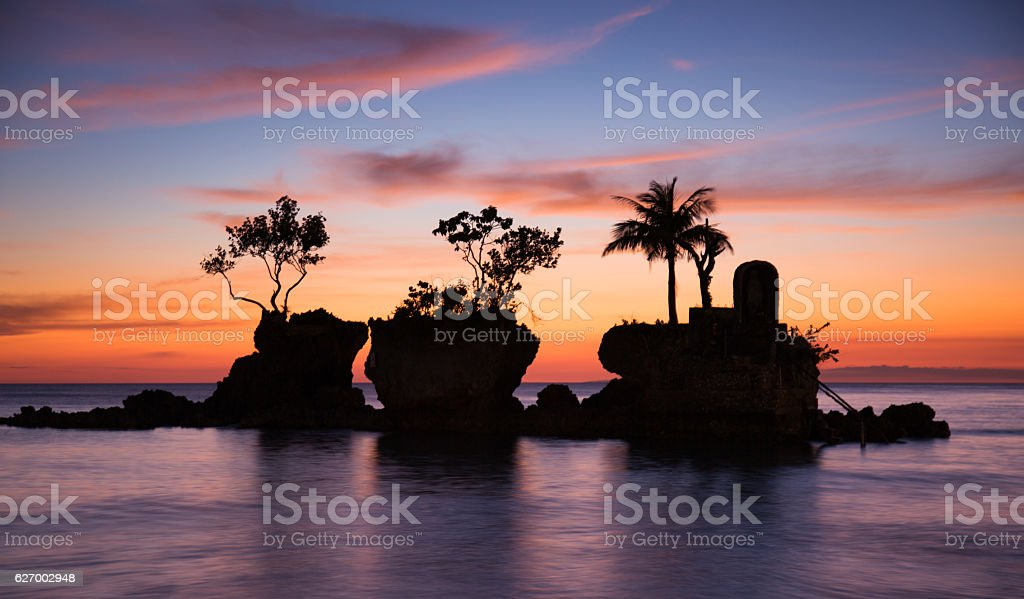 Willy's rock on Boracay's white beach, Philippines stock photo