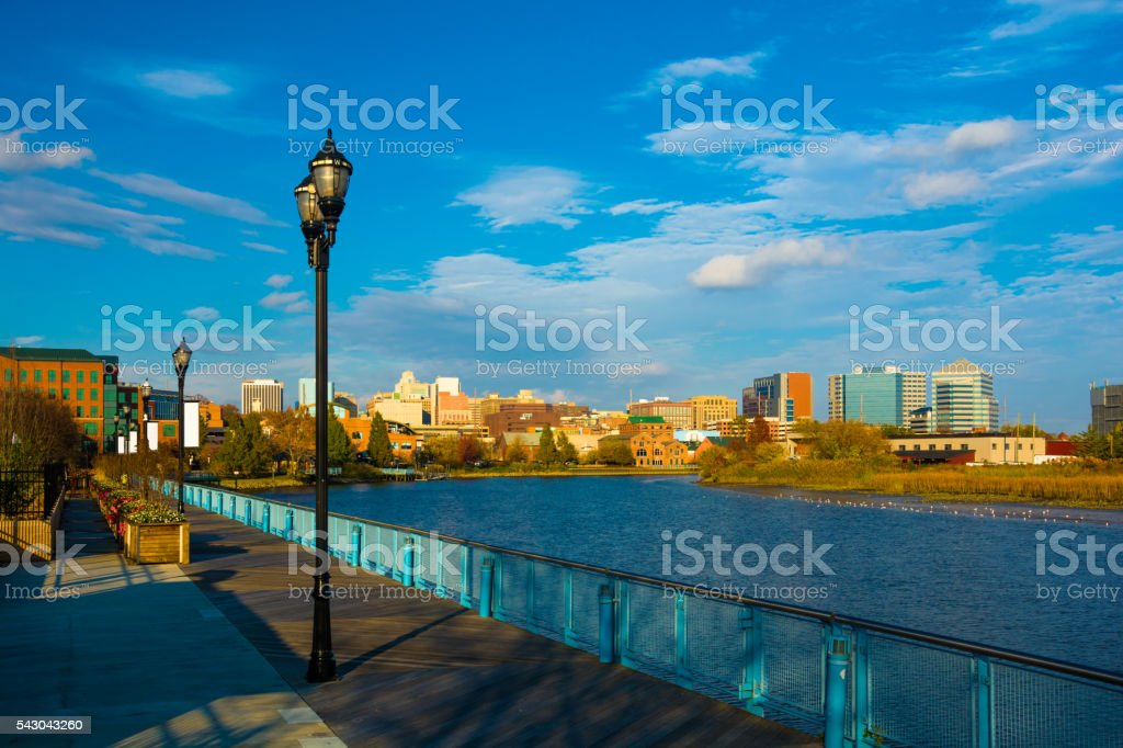 Wilmington, DE Skyline with River and Walkway stock photo