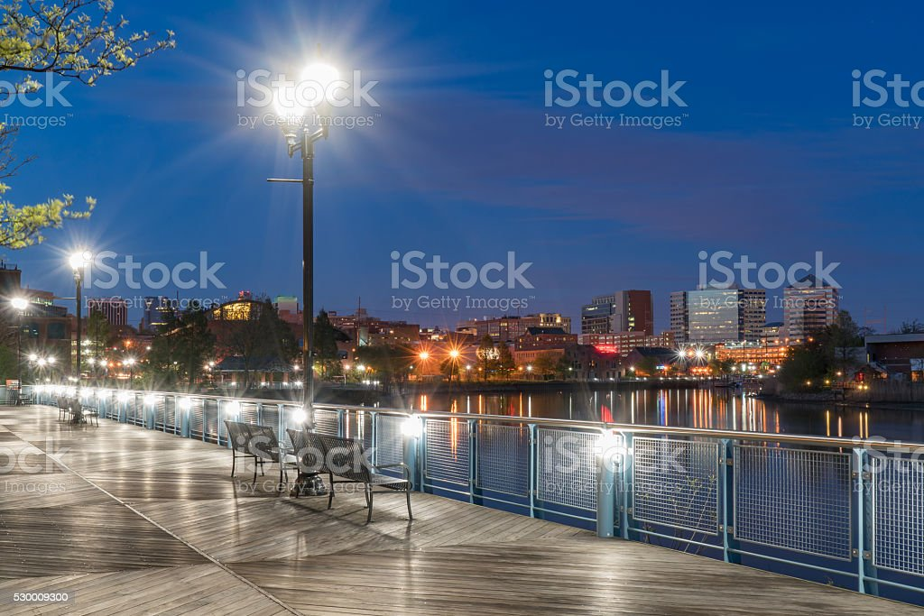Wilmington Delaware Riverfront at Night stock photo