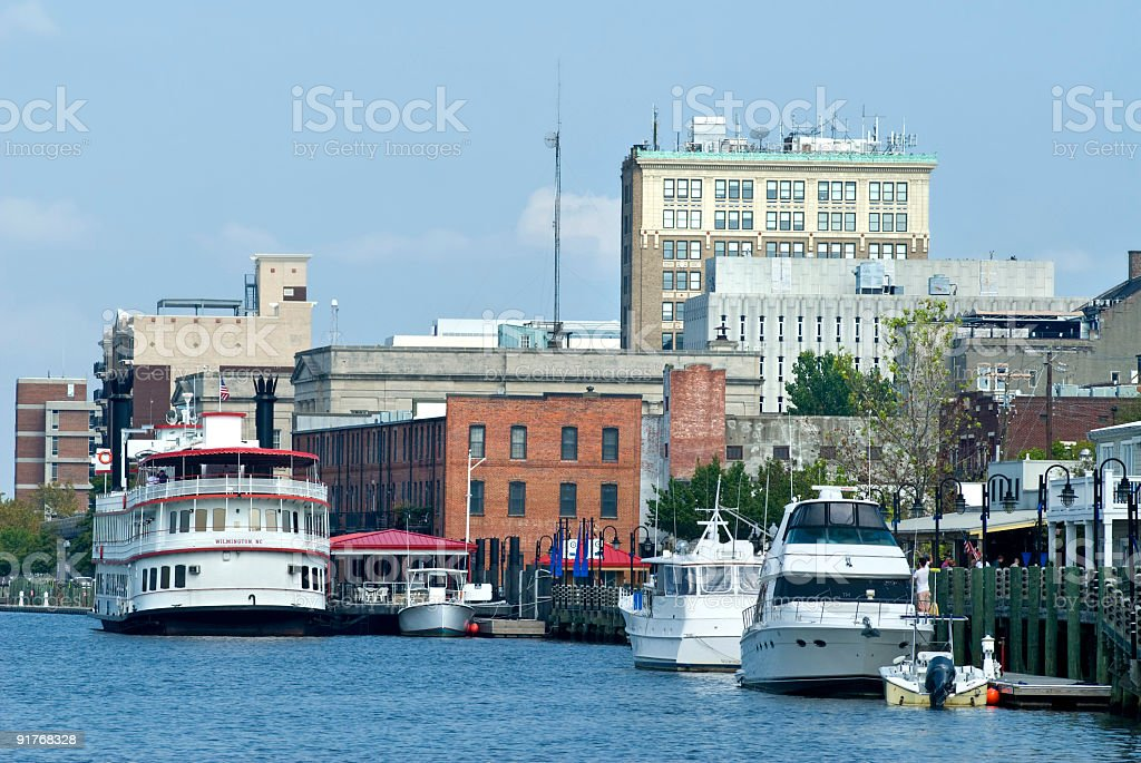 Wilmington, NC from Cape Fear River stock photo