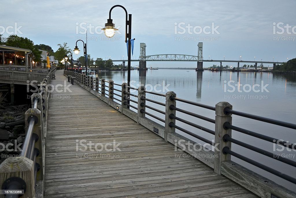 Wilmington, NC Riverwalk at Dusk stock photo