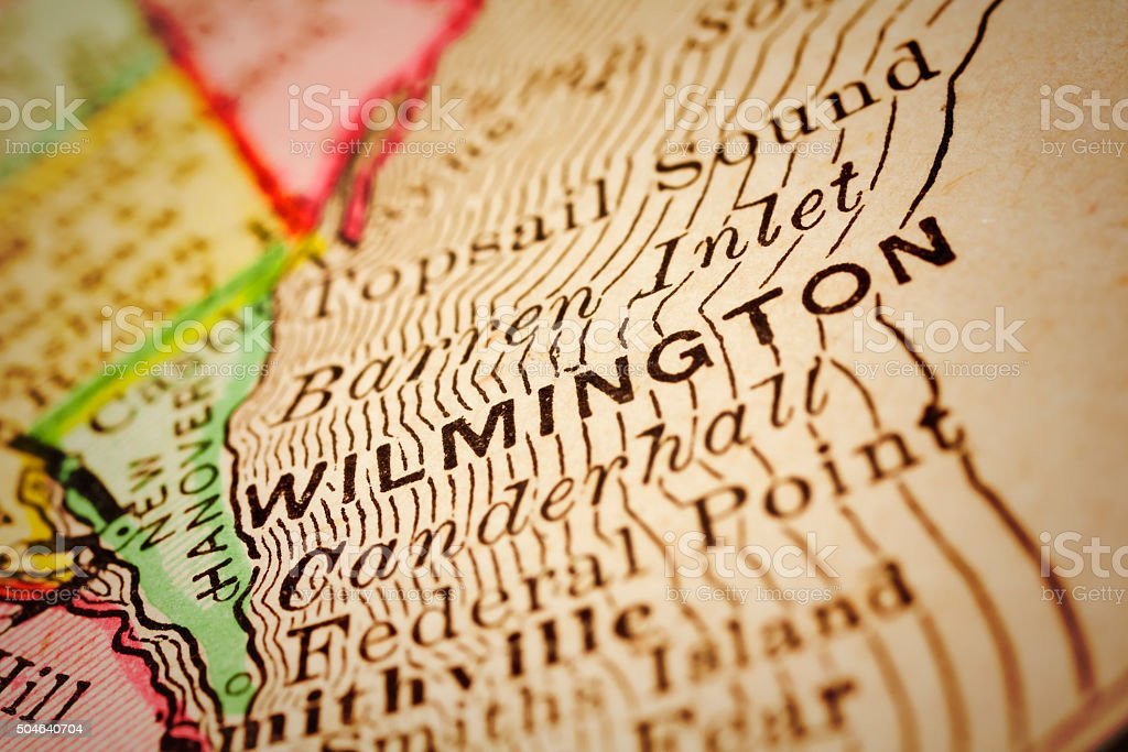 Wilmington, North Carolina on an Antique map stock photo