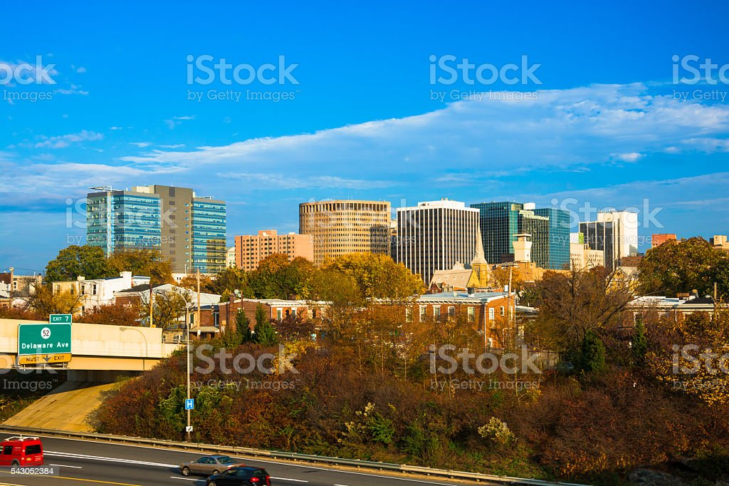 Wilmington Skyline and Highway during Autumn stock photo