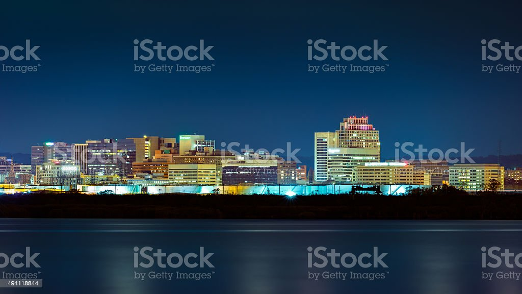 Wilmington skyline by night stock photo