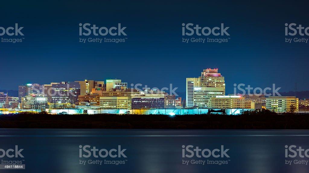 Wilmington skyline by night stock photo