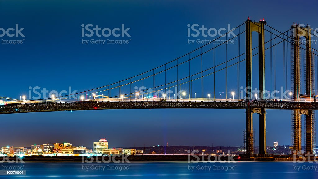 Wilmington skyline framed by Delaware Memorial Bridge stock photo