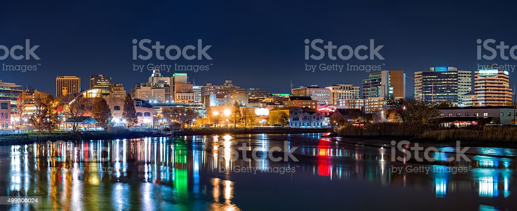 Wilmington skyline panorama by night stock photo