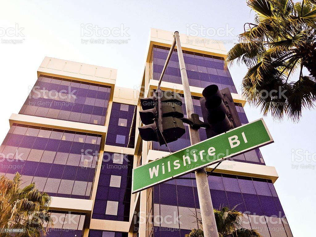 Wilshire Boulevard Sign stock photo