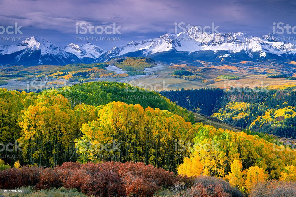 Wilson Peak in Autumn stock photo