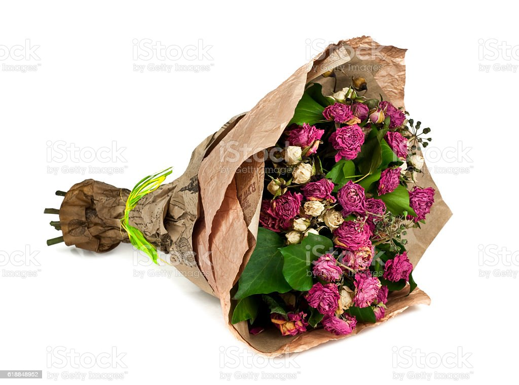 wilted bouquet of flowers isolated on white background stock photo