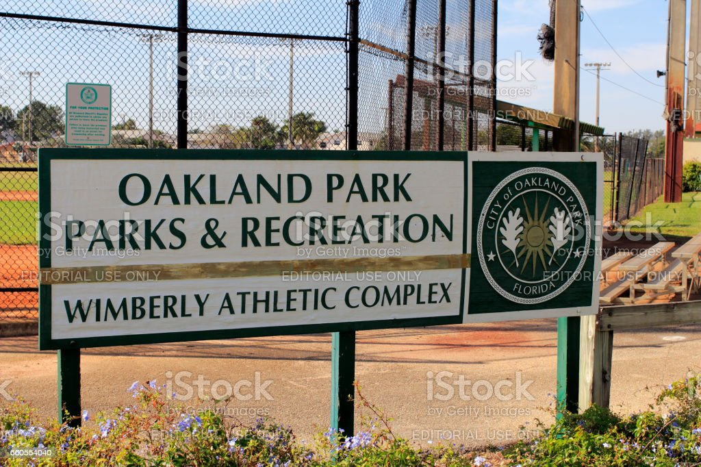 Wimberly Athletic Complex Sign Close-Up stock photo