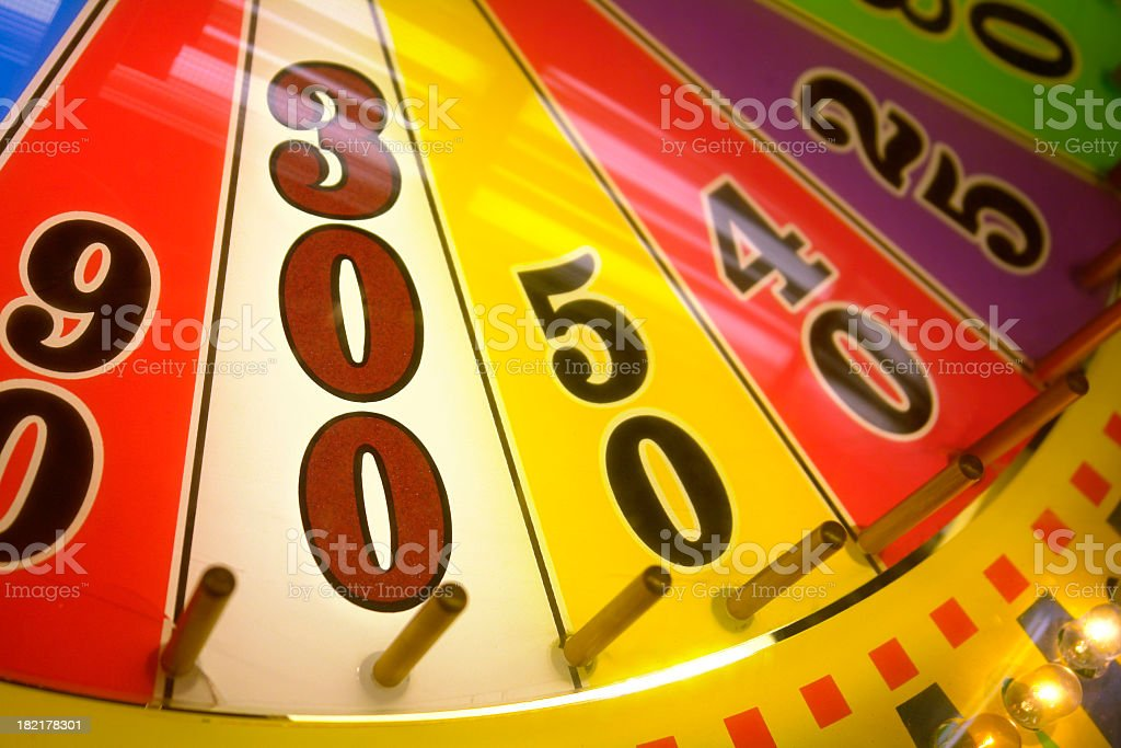 Win 300 points on a wheel of fortune stock photo