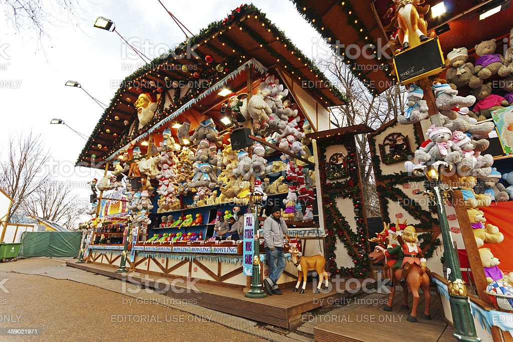 Win a Christmas toy fairground stall royalty-free stock photo