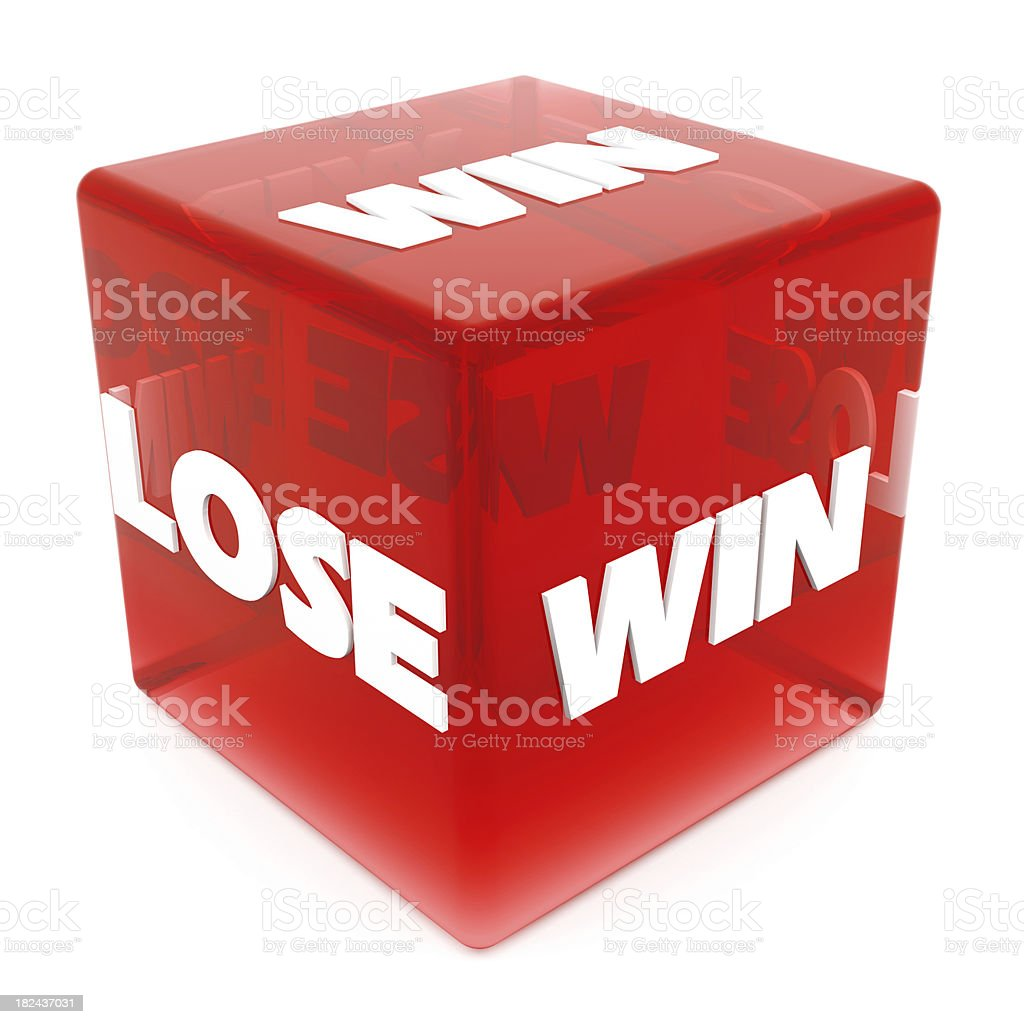 3D Win & Lose on Red Dice royalty-free stock photo