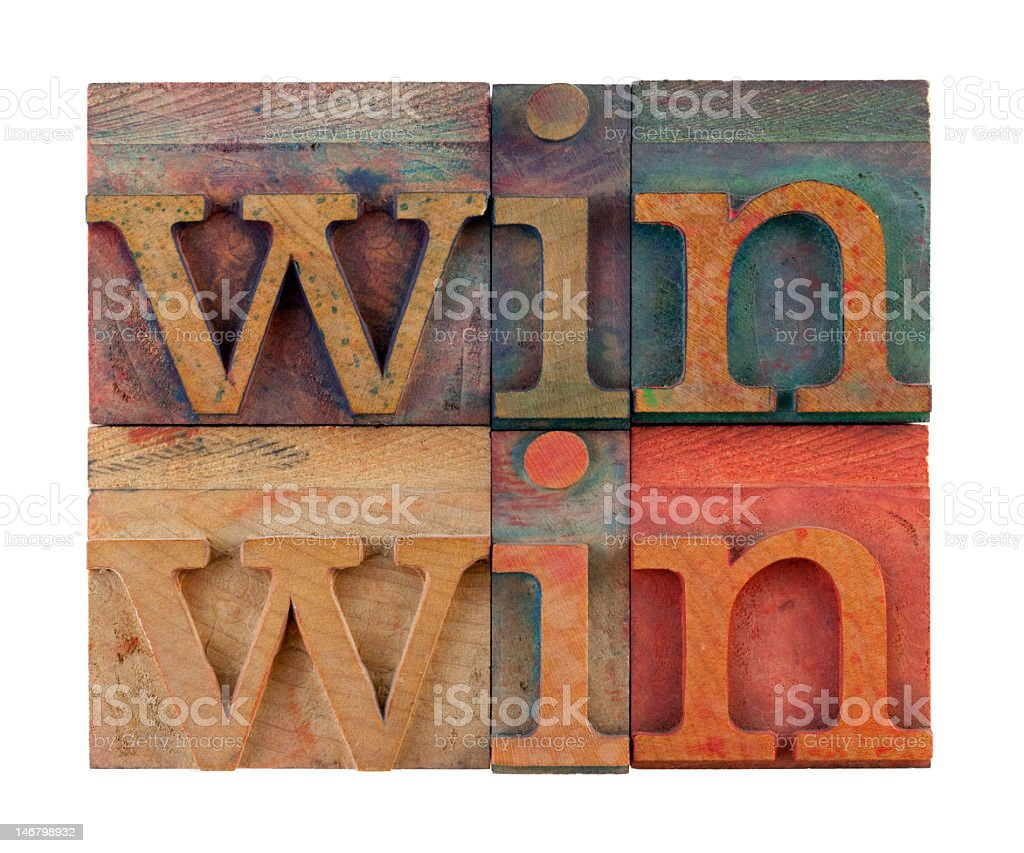 Win on colorful wooden boards royalty-free stock photo