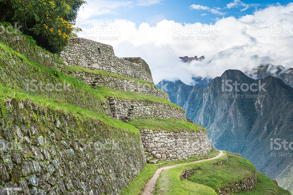 Winayhuayna, Inca ruins of agricultural center, The Inca Trail stock photo