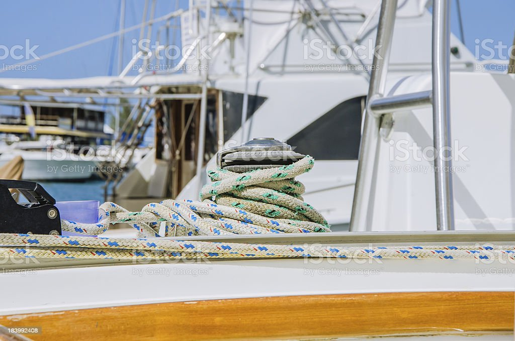 Winch and Ropes on a Sailing Boat royalty-free stock photo