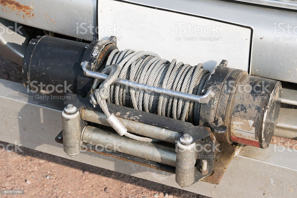 Winch - offroad equipment of rescue car stock photo