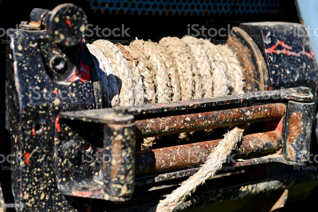 Winch on a off road truck stock photo