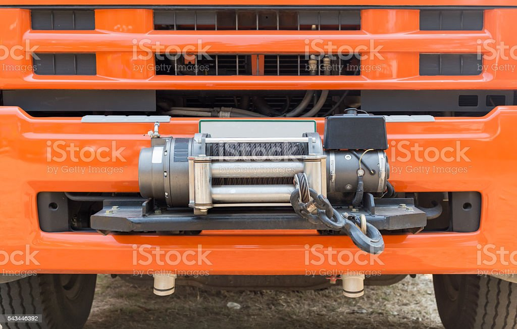 winch on front of rescue truck stock photo