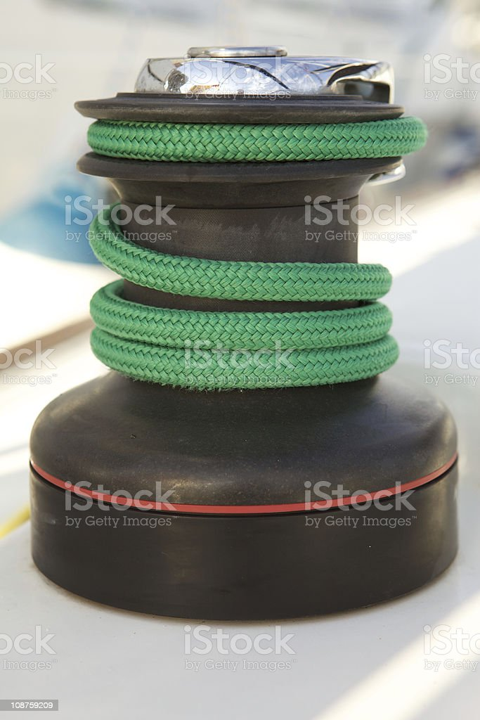 Winch with green line under load royalty-free stock photo