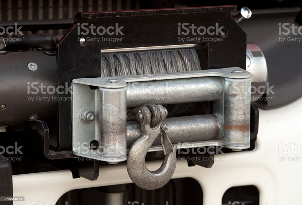Winch with hook of a truck stock photo