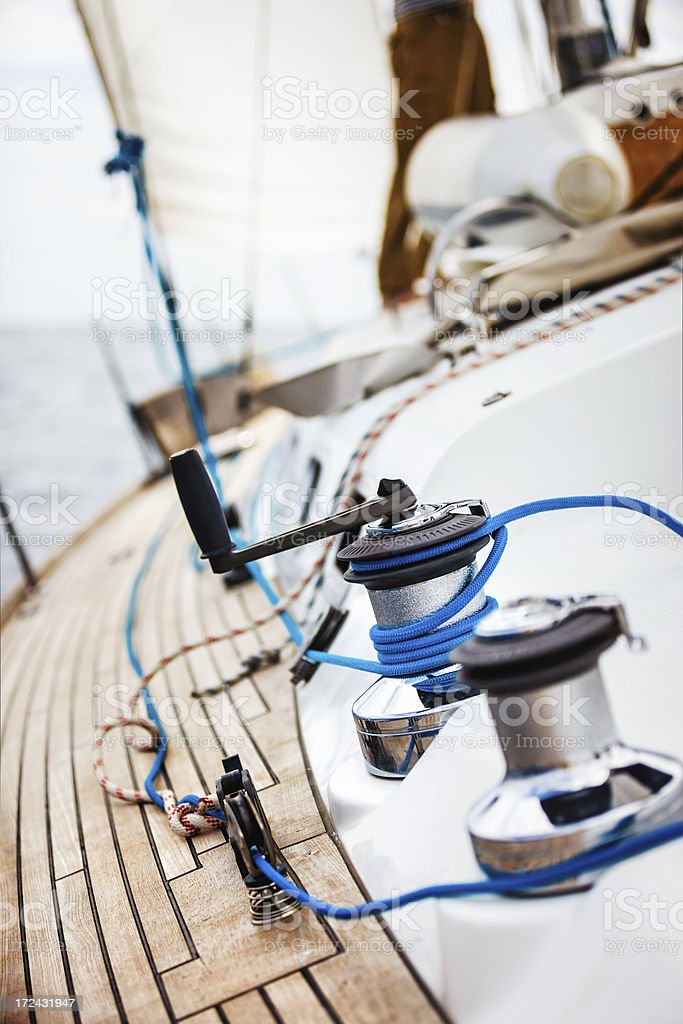 Winch with rope and handle stock photo