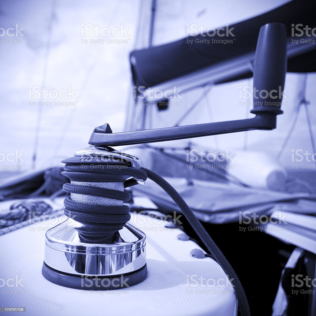 Winch with rope and handle royalty-free stock photo