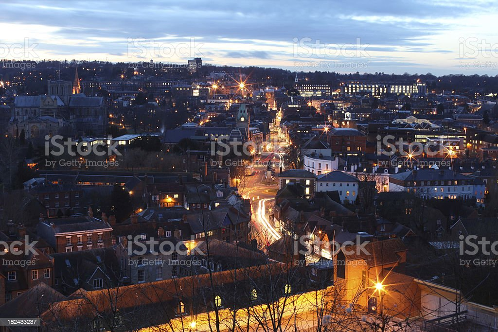 Winchester City Center at dusk stock photo