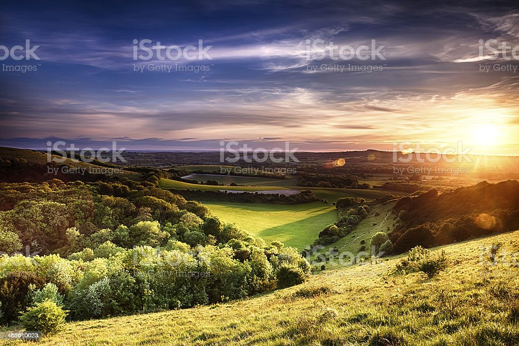 Winchester hill sunset stock photo